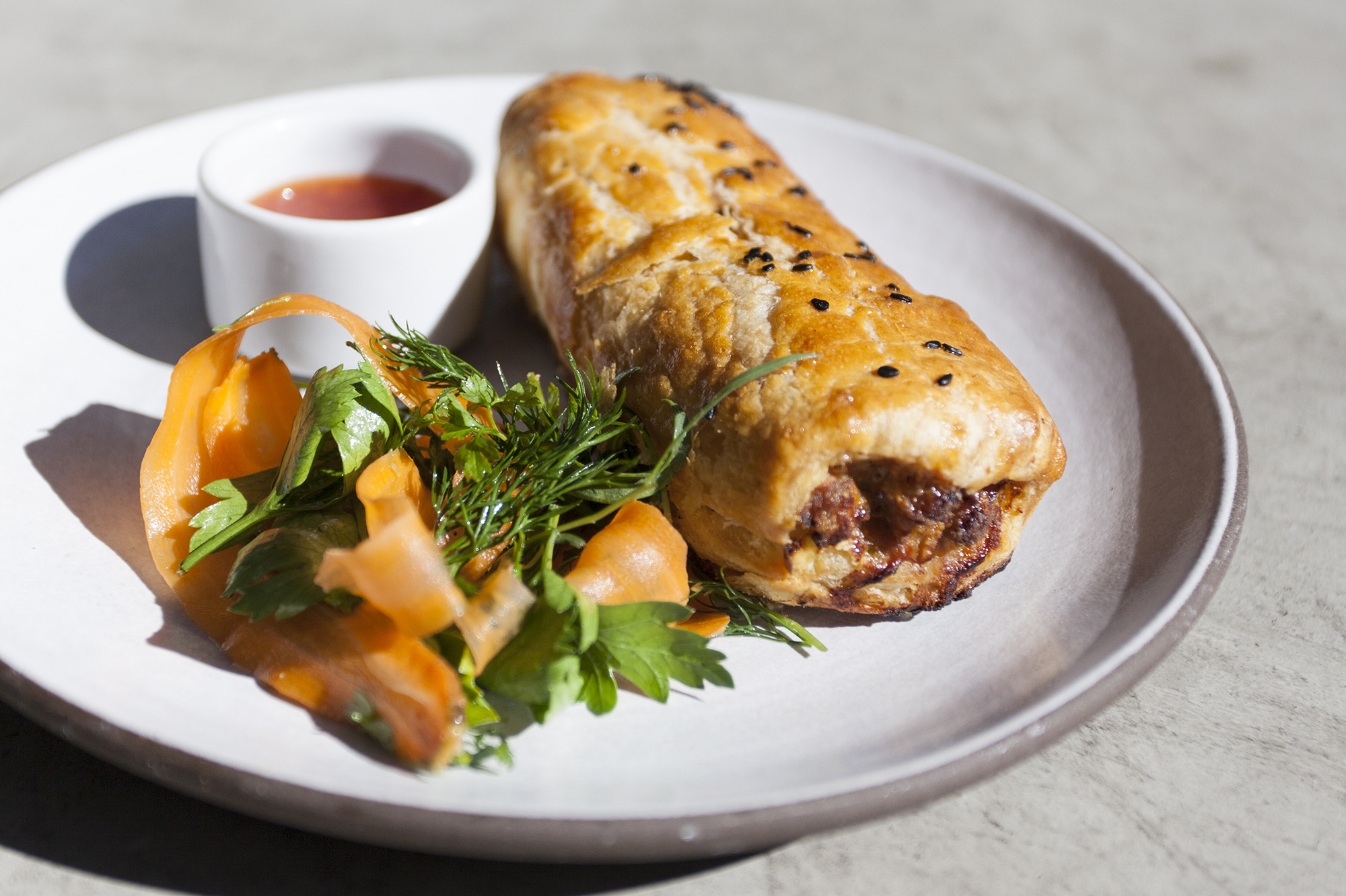 Lumpia sausage roll at Paramount Coffee Project ROW DTLA by Ria Barbosa