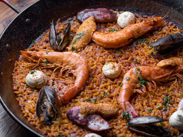 Mariscos paella at Spanish restaurant Otono in Highland Park