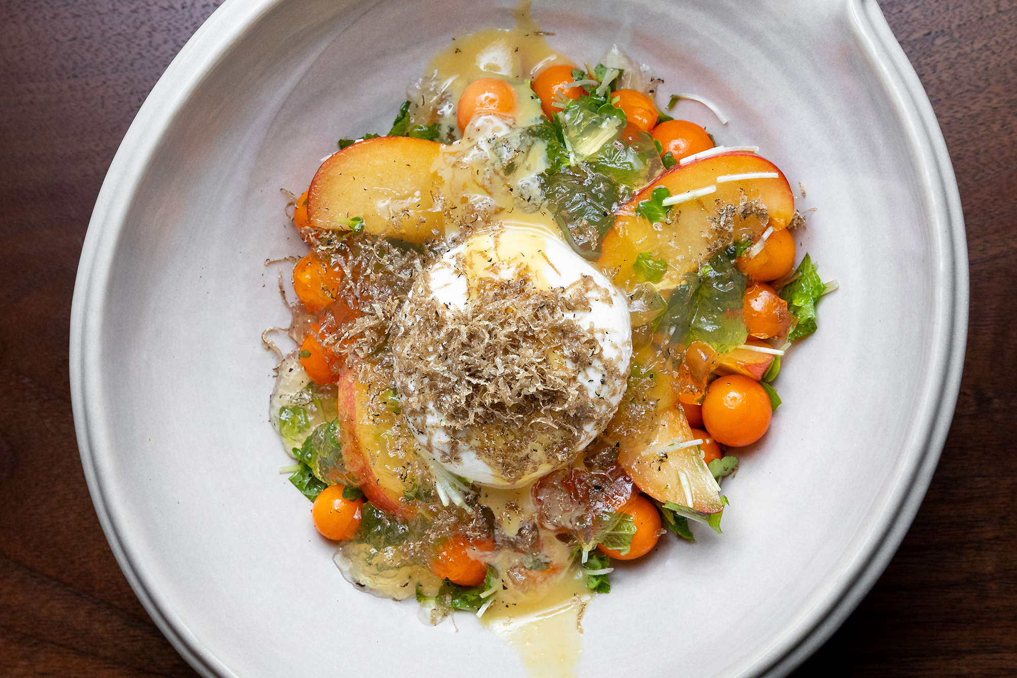 Truffled tomato and burrata at Chateau Hanare Japanese restaurant at Chateau Marmont