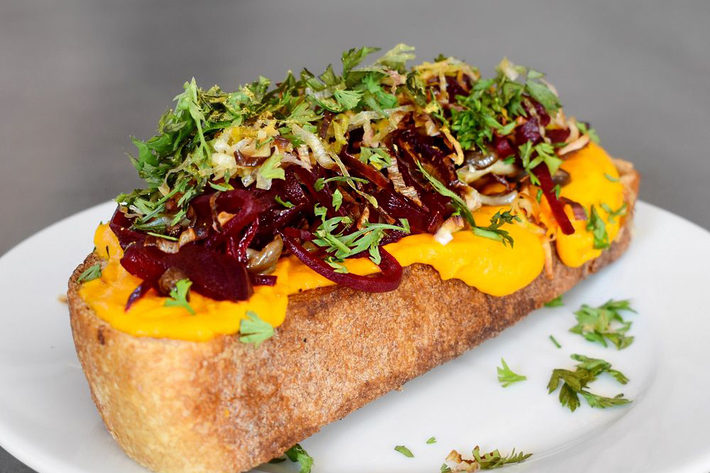 Vegan Carrot Tartine at Yarrow Cafe on Fairfax by Royce Burke