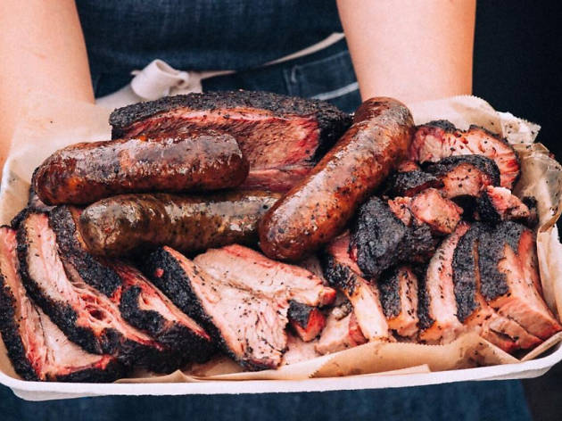 Moo's Craft Barbecue smoked meat plate Los Angeles