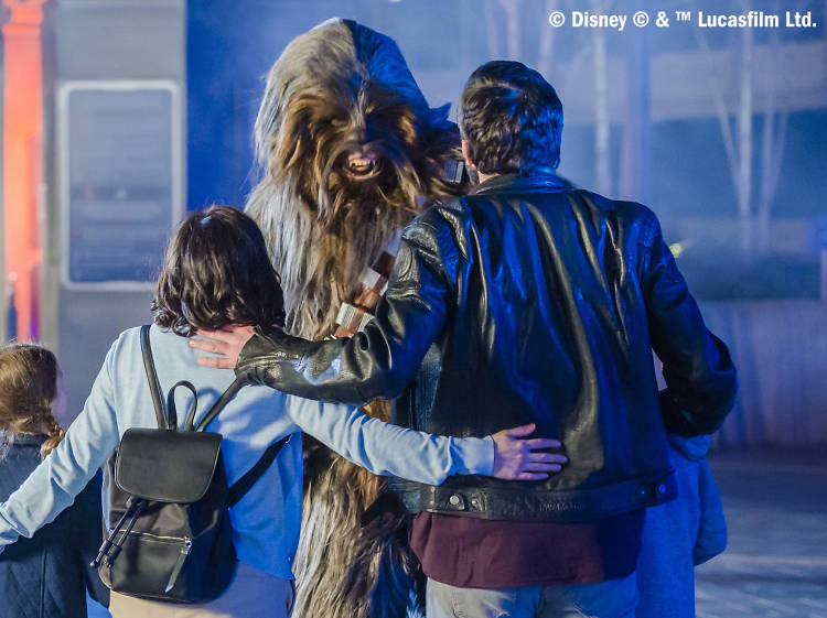 Do not reuse. COPYRIGHT ADDED. Meeting Chewbacca - Disneyland Paris Legends of the Force campaign.