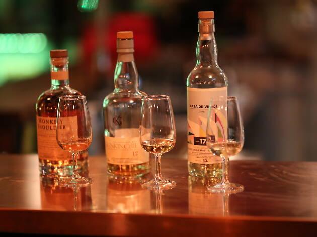 Whiskies in glasses