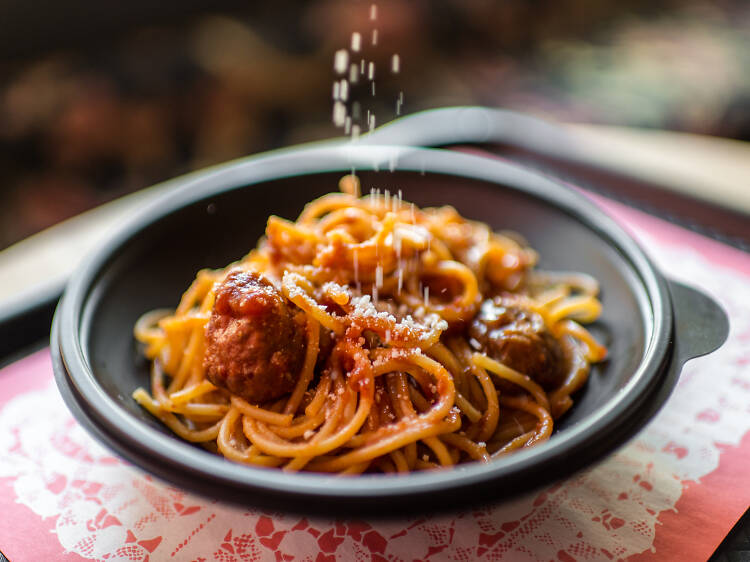Spaghetti and meatballs at Pasta Flyer