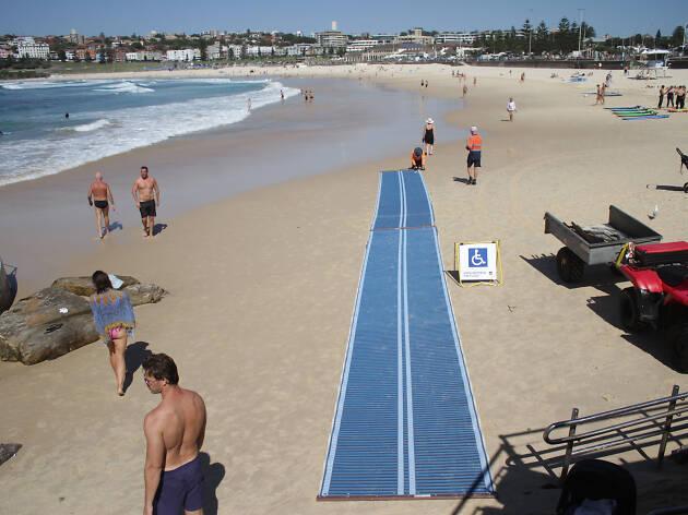 Blue wheelchair accessible beach mat at Bondi Beach
