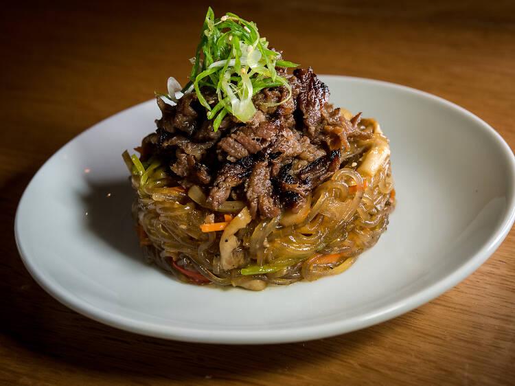 Glass noodles with bulgogi at Soogil