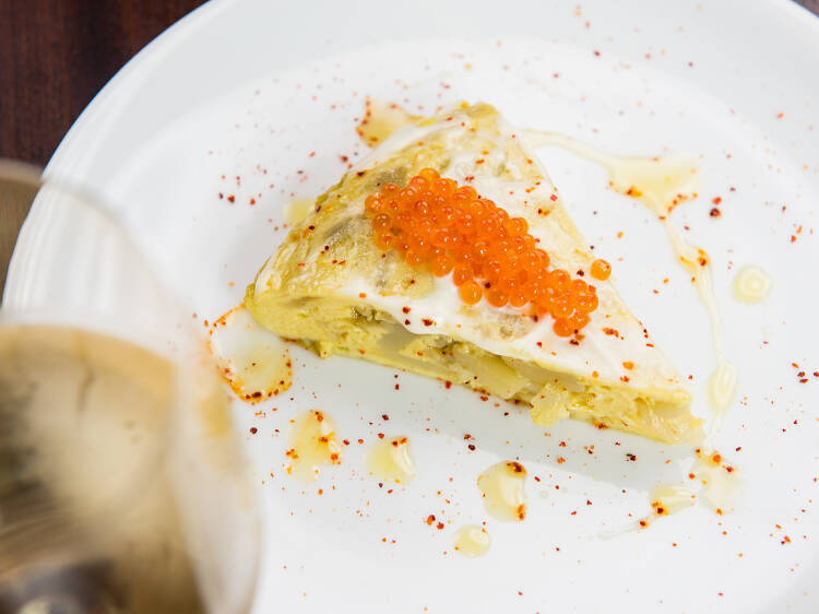 Spanish tortilla with trout roe at Frenchette