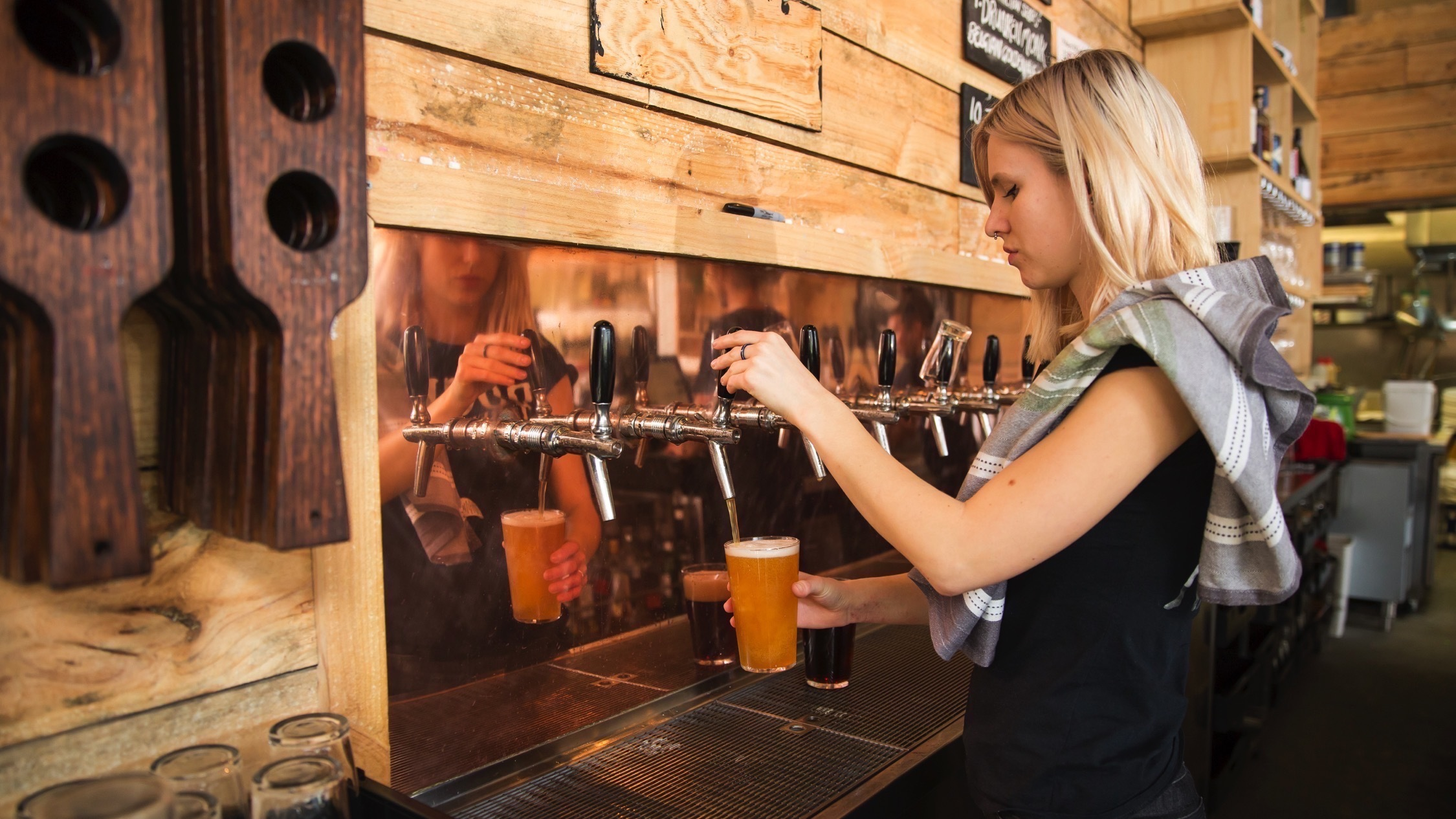 Pouring drinks at Rocks Brewery and Bar