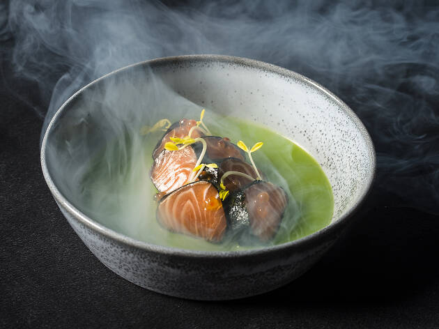 Plate of steaming sushi.