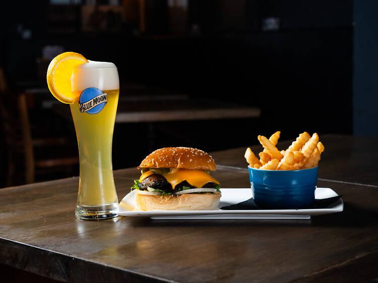 Mushroom burger and fries at Kodiak Club