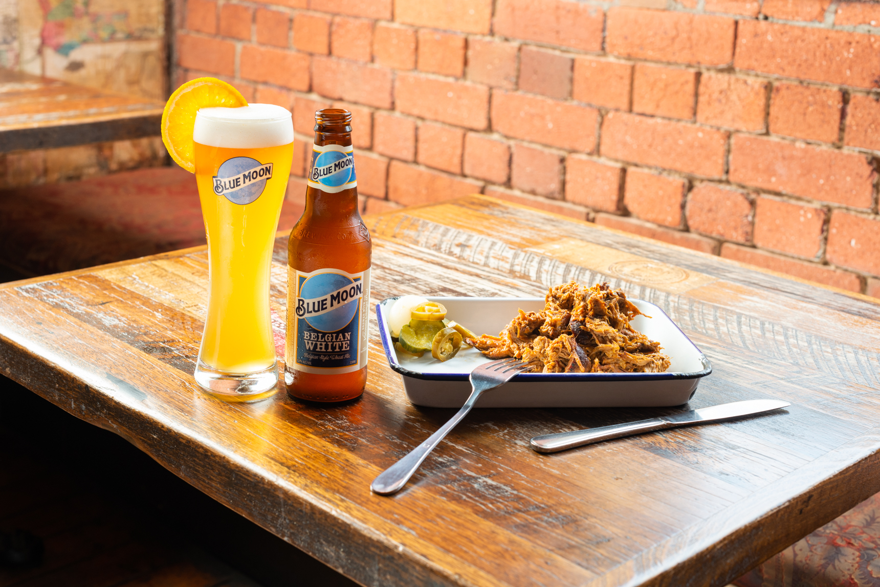 Pulled pork and a Blue Moon wheat beer