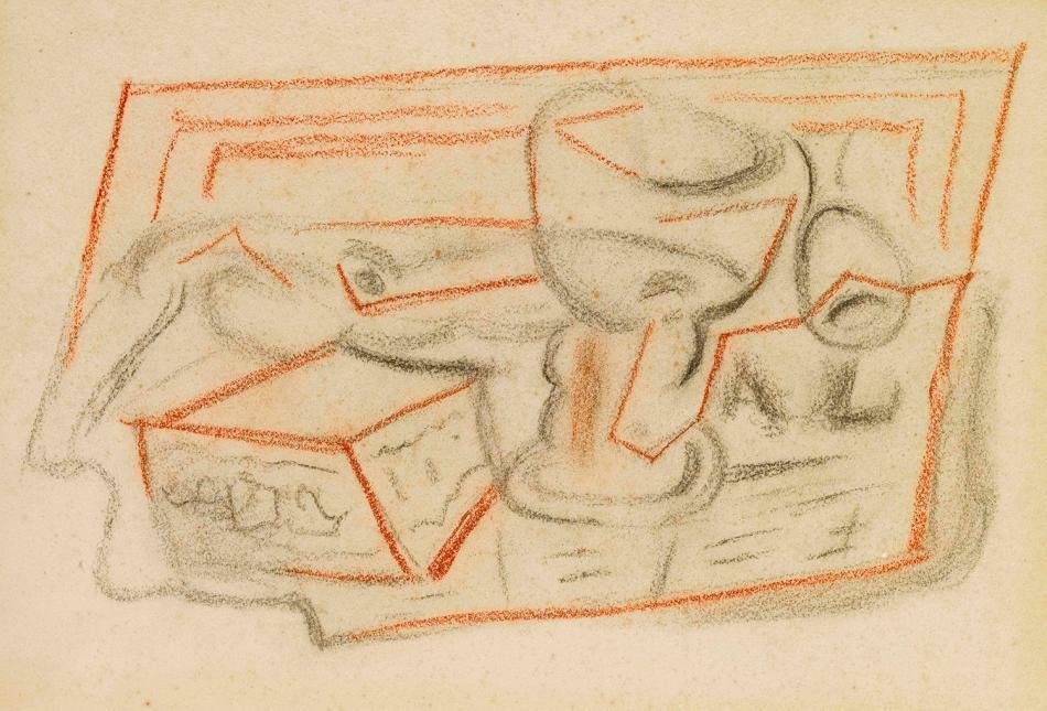 J. Gris, 'Verre, pipe et boites' 1924