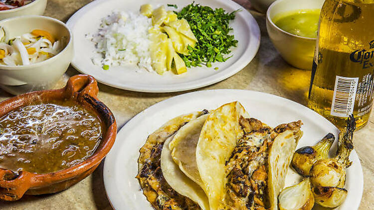 A few dishes served at Tacos Tumbras