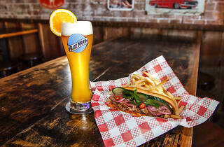 A banh mi and a Blue Moon beer