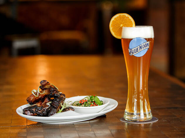 Barbecue riblets and a Blue Moon beer
