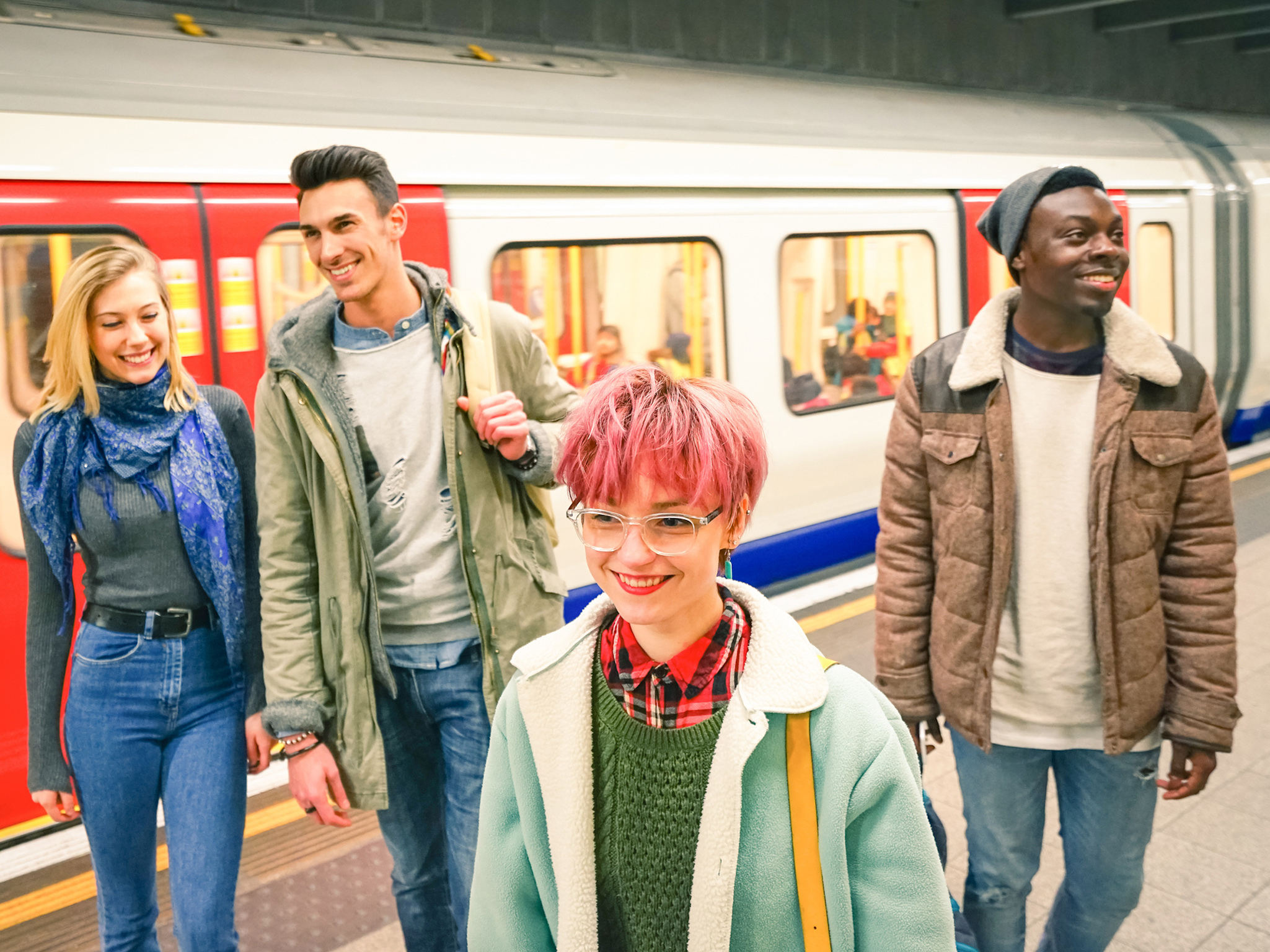 Stock image of people getting off the Tube