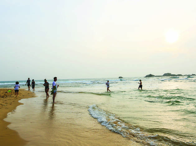 Enjoy the golden sandy beach- es in the south