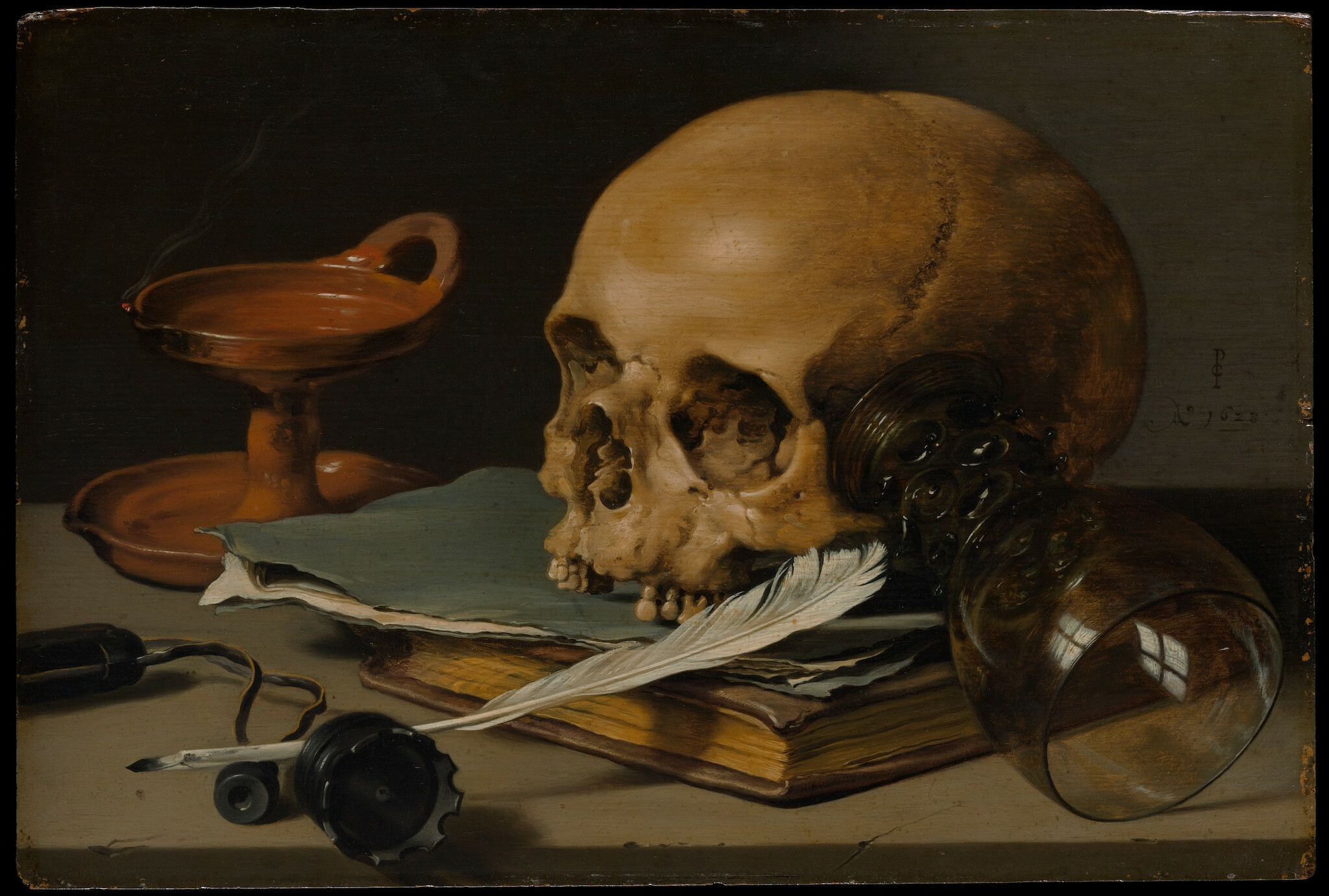 Pieter Claesz, Still Life with a Skull and a Writing Quill, 1628