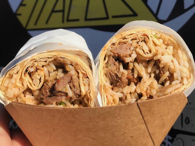Mid East Taco kabob burrito at Smorgasburg