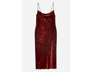 Velvet Cowl Midi Slip Dress