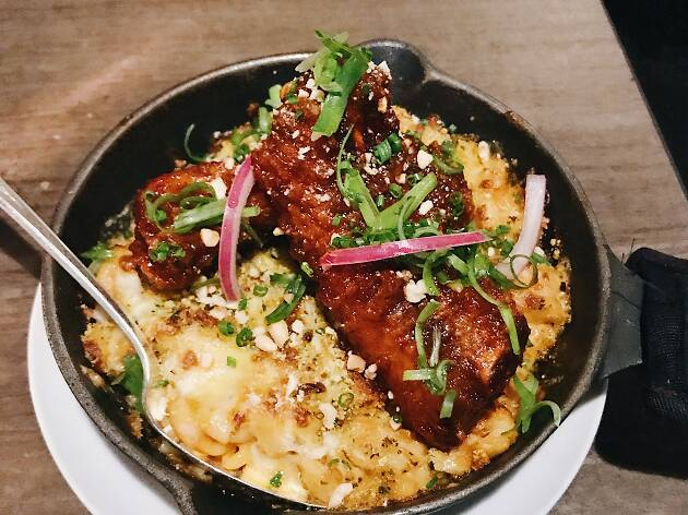 Korean Southern food mac and cheese and pork ribs at Makani in Venice