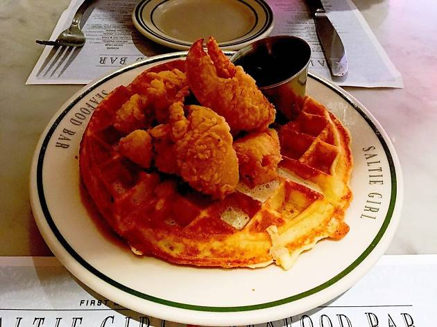 Lobster and waffles at Saltie Girl