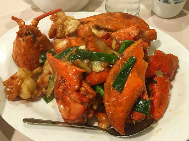 Ginger scallion lobster at Peach Farm