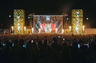 Festival stage and crowd.