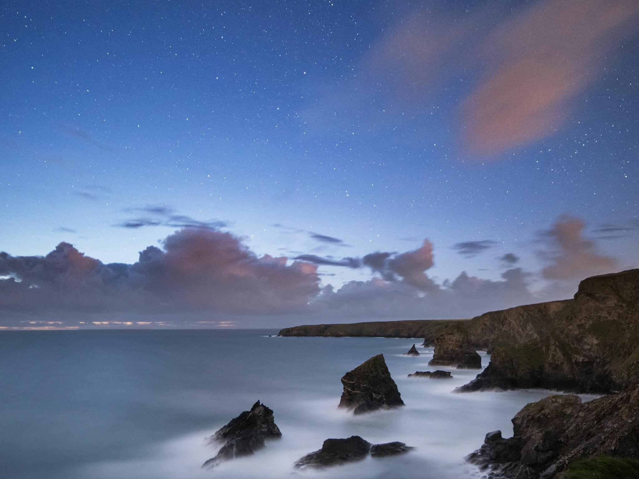 Bedruthen steps, stargazing, Cornwall