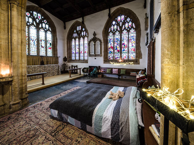 Leave London for an overnight snooze in an ancient church