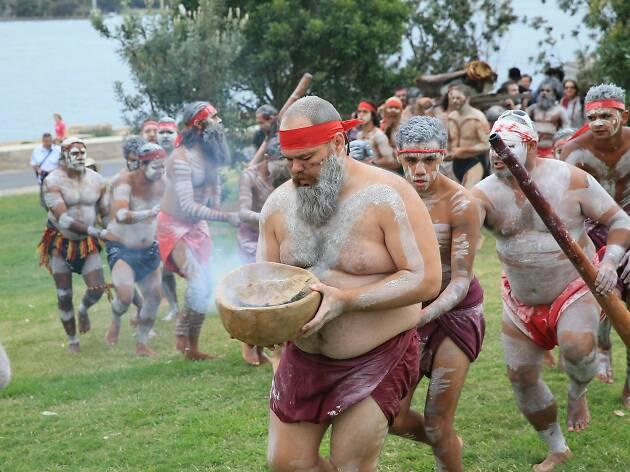 Smoking ceremony at WugulOra Morning Ceremony at Barangaroo Reserve