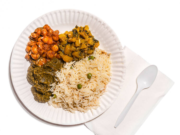 The $7 large plate at Punjabi Grocery & Deli