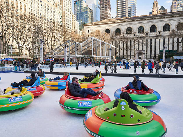 You can now ride bumper cars on the ice rink of the Winter Village at Bryant Park
