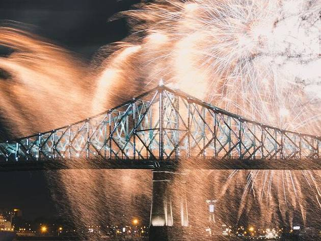 Jacques-Cartier Bridge, Fireworks, Montreal