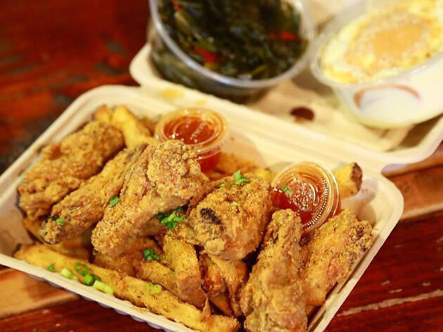 Fried chicken wings at Comfort LA soul food
