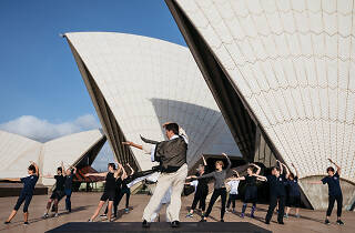 Tai Chi class in front of the Sydney Opera House.
