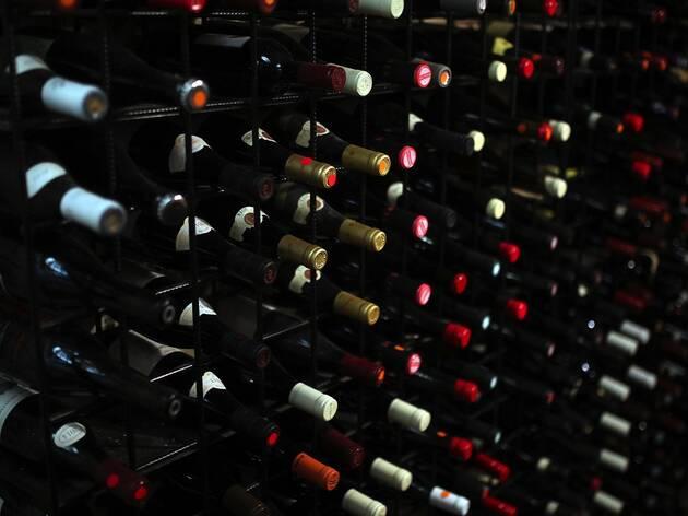 Wine on racks at Kirk's Wine Room