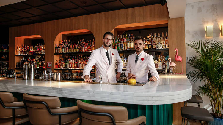 Bartenders in double-breasted dinner jackets at Maybe Sammy