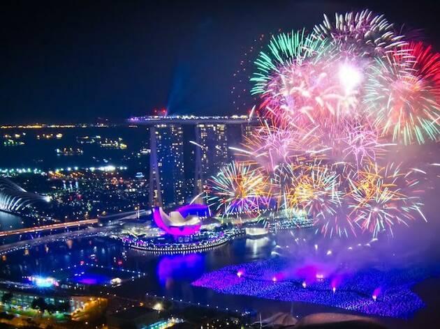 fireworks, singapore, chinese new year
