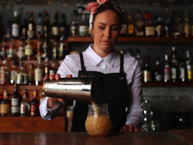Pouring cocktails at Black Pearl