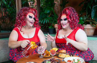 Drag queen Felicity Frockaccino pictured eating.