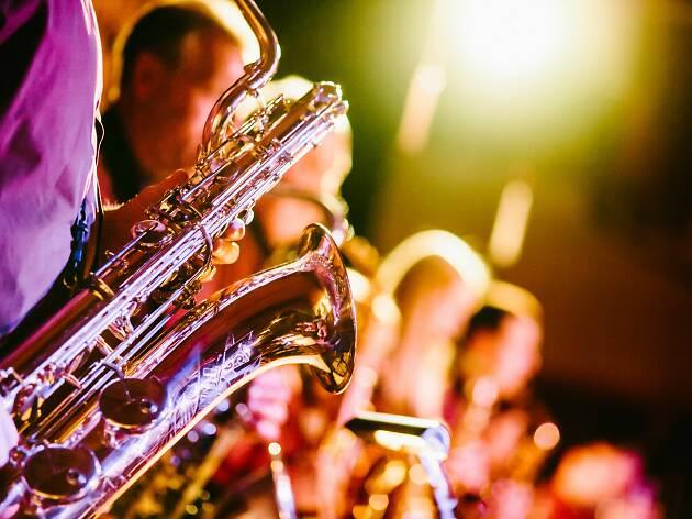 Generic jazz image with saxophones