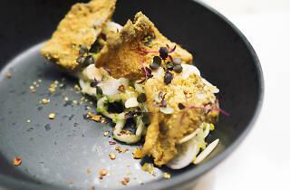 Egg Yolk Fish Skin with White Kimchi Salad