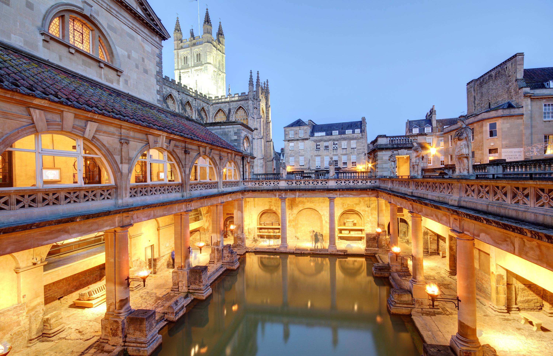 Lit up roman baths