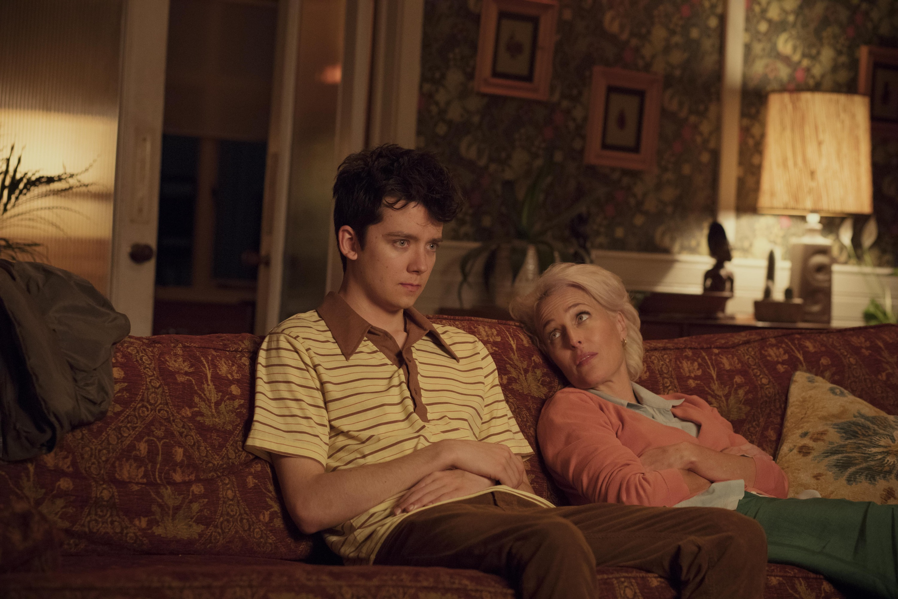 A still from the Netflix show Sex Education starring Asa Butterfield and Gillian Anderson
