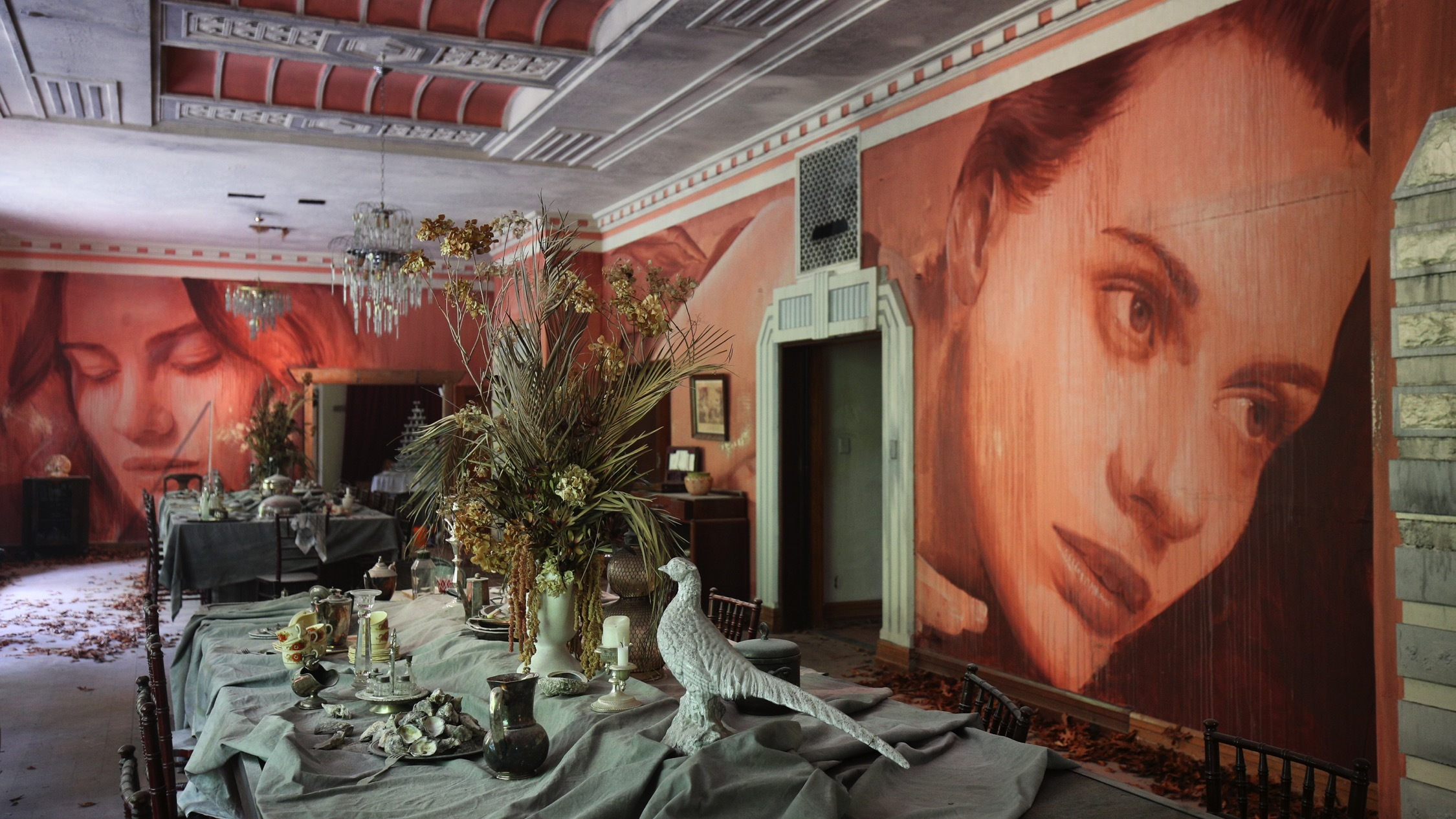 dining room Inside an abandoned house at Rone Street Art Exhibti