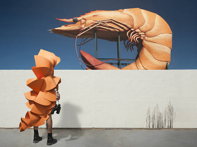Person in orange costume looking at a giant prawn.