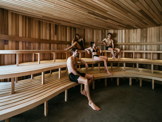 People in the sauna at Peninsula Hot Springs