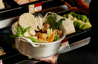 A bowl of ingredients for a hot pot