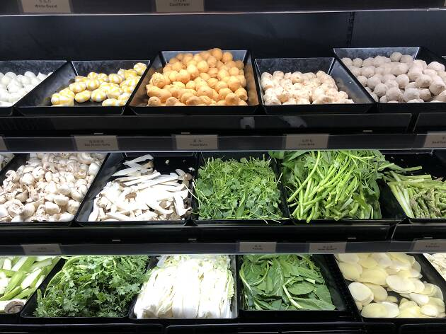 A selection of fresh ingredients for hot pot